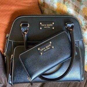 Kate Spade Black Maeda Satchel W/ Matching Wallet